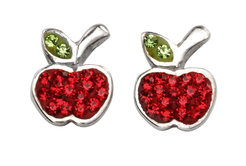 Red And Green Stone Apple Studs