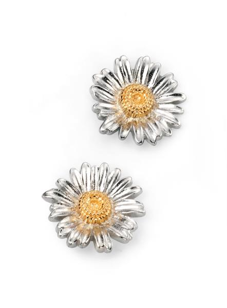 Rhodium Plated Gold Plate Detail Daisy Stud Earrings