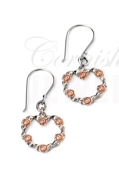 Rhodium Plated Heart Earrings Rose Gold Plated Flowers