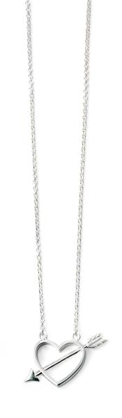 Rhodium Plated Arrow Through Heart Necklace