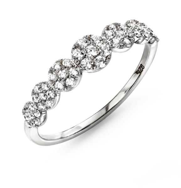 Rhodium Plated Clear CZ Flower Ring