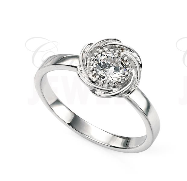 Rhodium Plated Silver CZ Milgrain Edge Flower Ring
