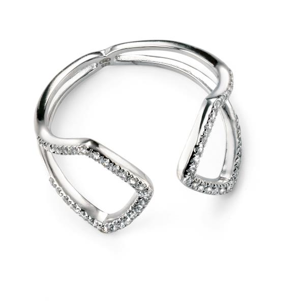 Rhodium Plated Clear CZ Open Ring