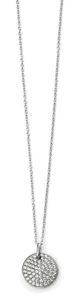 Rhodium Plated Clear CZ Pave Disc Necklace