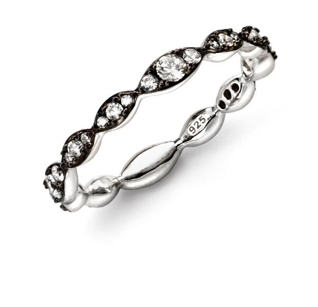 Rhodium CZ Wave Ring