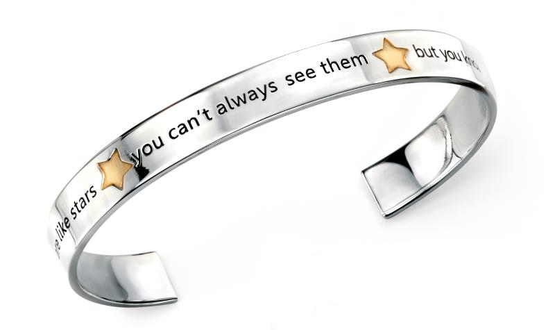 "Rhodium Plated Gold Plate Star ""Friends"" Open Bangle"