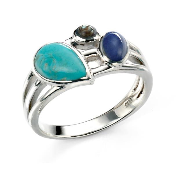 Rhodium Plated Turquoise And Dark Blue Stone Ring