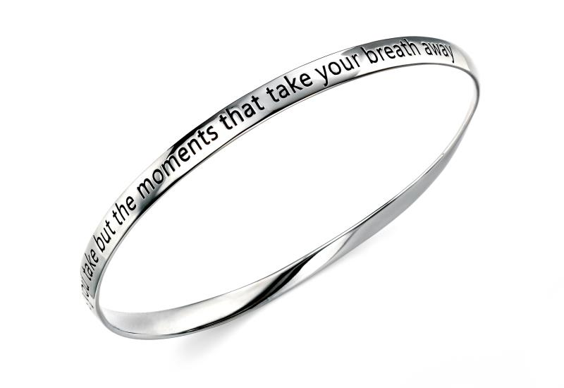 "Rhodium Plated Twisted ""Moments"" Bangle"