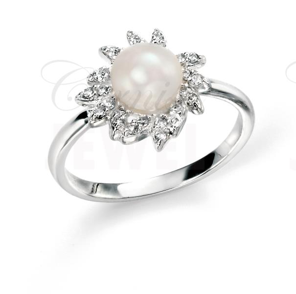 Rhodium Plated Sterling Silver Pearl Ring CZ