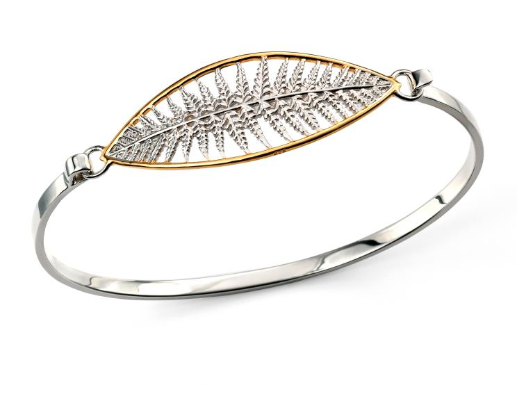 Rhodium Plated With Gold Plating Marquise Cut Out Fern Bangle
