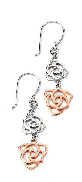 Rhodium Plated Rose Gold Detail Double Open Rose Drop Earrings