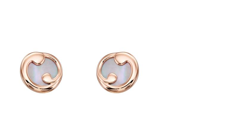 Rose Gold And Pink Mother Of Pearl Slice Stud Earrings