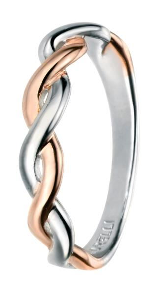 Rose Gold And Rhodium Fixed Twist Ring