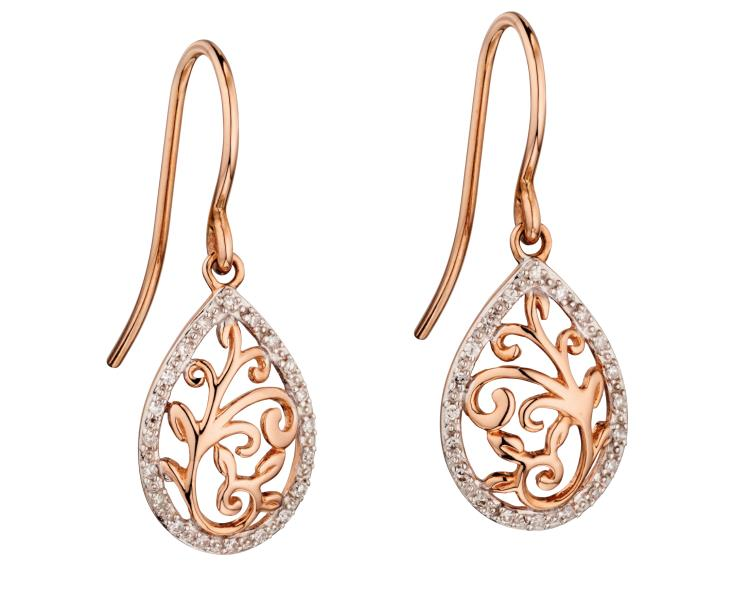 Rose Gold Baroque Diamond Drop Earrings