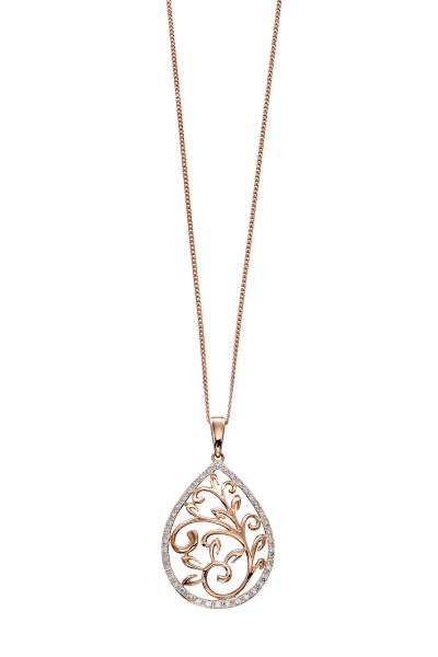 Rose Gold Baroque Diamond Pendant