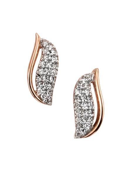 Rose Gold Diamond Harp Stud Earrings