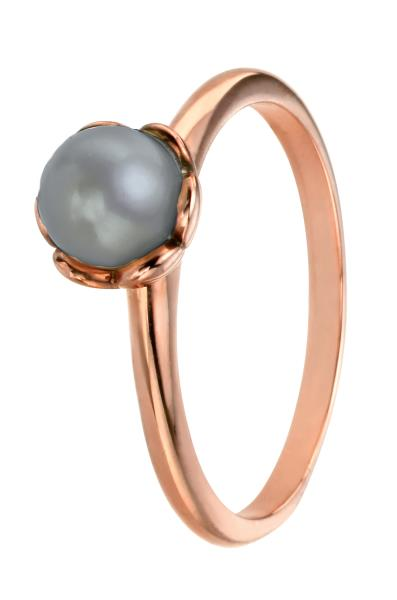 Rose Gold Grey Pearl Ring With Flower Setting