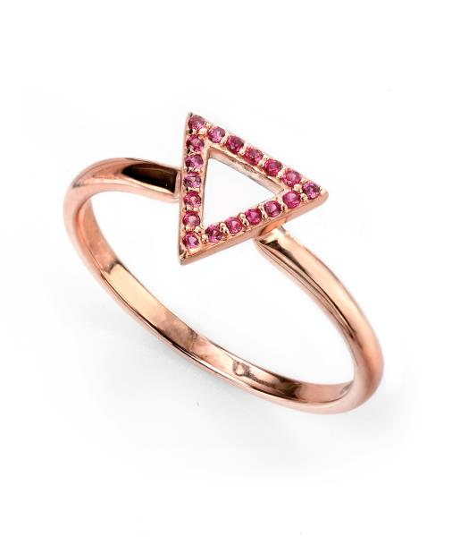 Rose Gold Open Triangle Ring With Dark Pink CZ