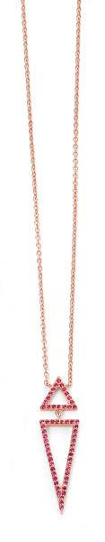 Rose Gold Plated Pink CZ Triangle Necklace
