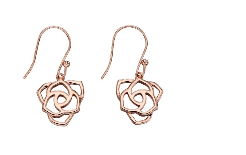 Rose Gold Open Rose Drop Earrings