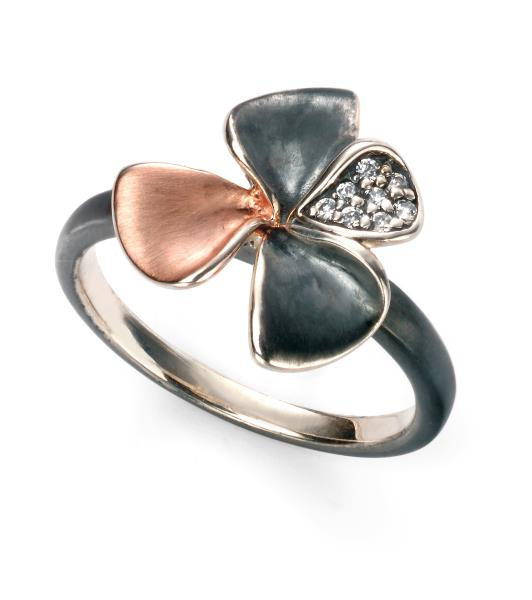 Rose Gold Oxidised Pave CZ Flower Ring