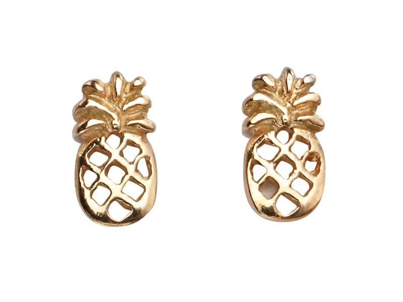 Rose Gold Pineapple Stud Earrings