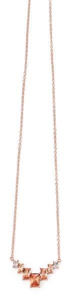 Rose Gold Plate Geometric Necklace With Champagne/Clear CZ