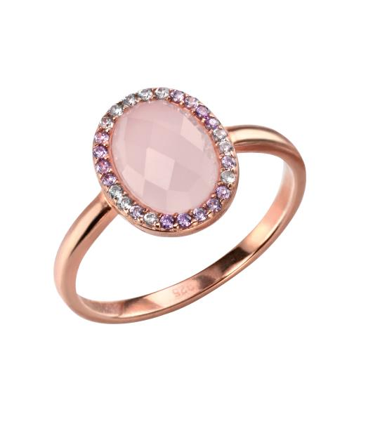 Rose Gold Plate Rose Quartz And CZ Oval Ring