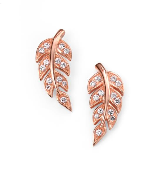 Rose Gold Plate Clear CZ Leaf Stud Earrings
