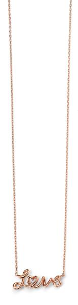 "Rose Gold Plated Clear CZ ""Love"" Necklace 42+3Cm"