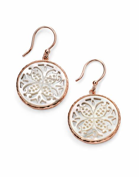 Rose Gold Plated Drop Earrings With White MOP Inlay