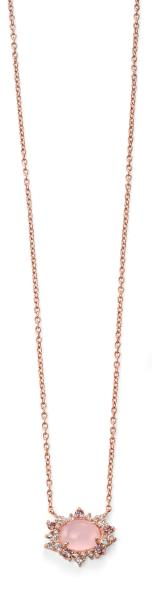 Rose Gold Plated Rose Quartz And CZ Cluster Necklace 42+3Cm