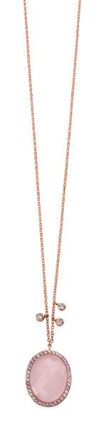 Rose Gold Plated Rose Quartz And CZ Necklace