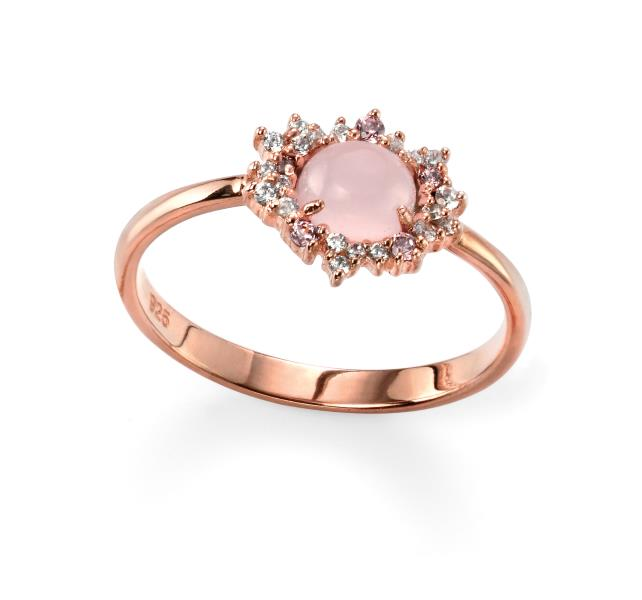 Rose Gold Plated Rose Quartz And CZ Cluster Ring