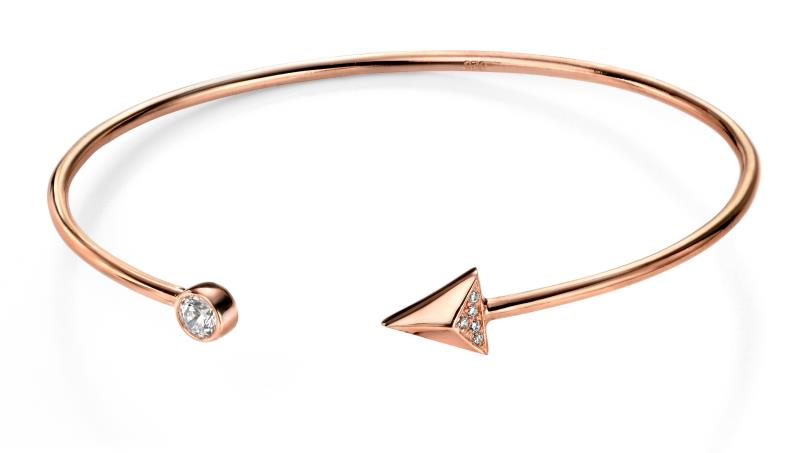 Rose Gold Plated Clear CZ Arrow Open Bangle