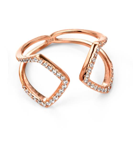 Rose Gold Plated Clear CZ Open Loop Ring