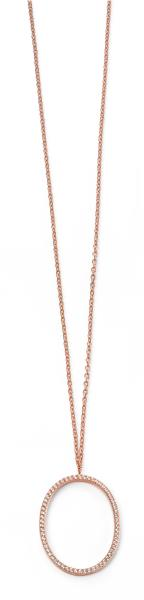 Rose Gold Plated Clear CZ Open Oval Necklace