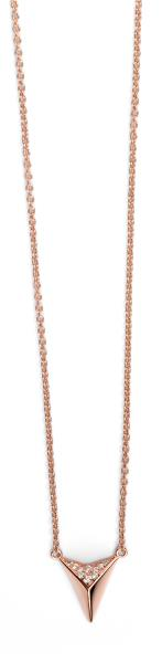 Rose Gold Plated Clear CZ Detail Triangle Necklace