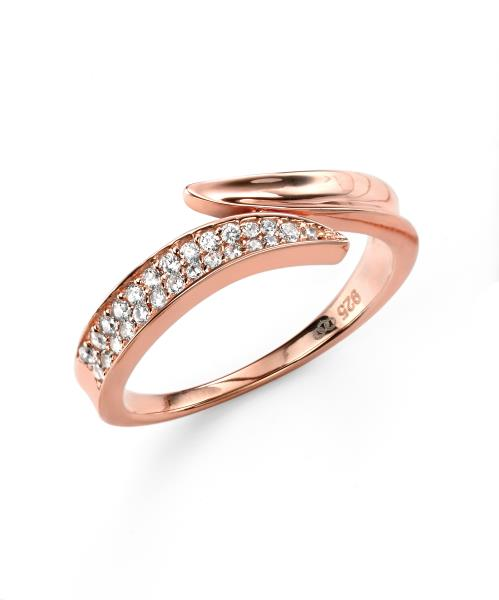 Rose Gold Plated Clear CZ Wrap Ring