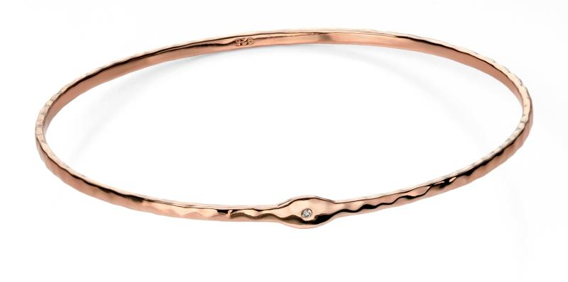 Rose Gold Plated Hammered Bangle With Clear CZ