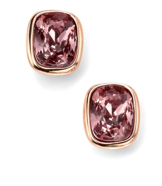 Rose Gold Plated Antique Pink Swarovski Crystal Stud Earrings