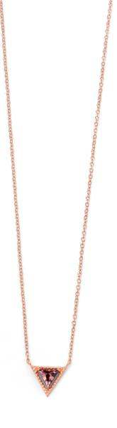 Rose Gold Plated Purple CZ Triangle Necklace