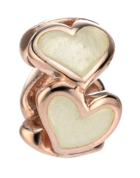 Rose Gold Enamel Heart Bead