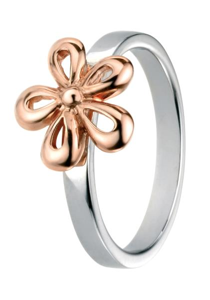 Rose Gold Flower Ring With Plain Band