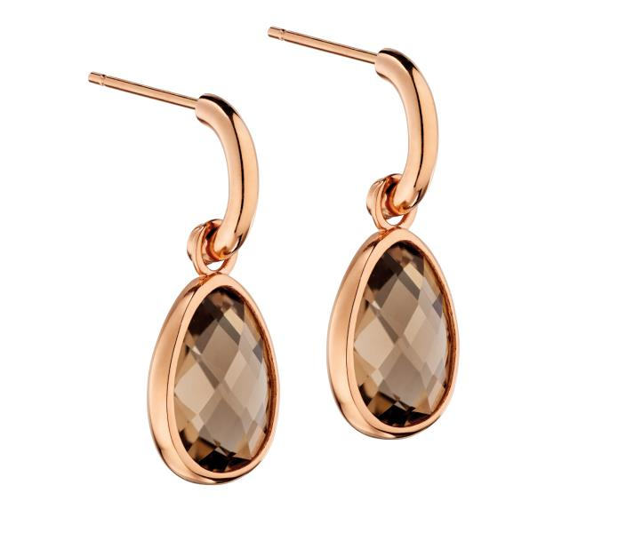Rose Gold, Smoky Slice And Polished Finish Earrings