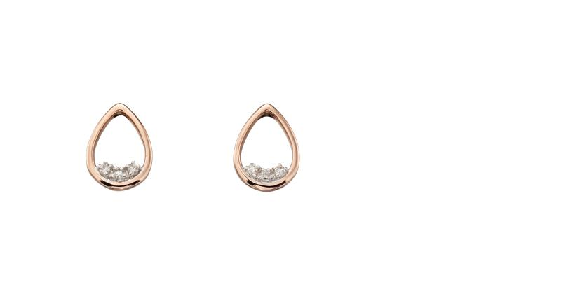 Rose Gold Teardrop Dainty Diamond Stud Earrings