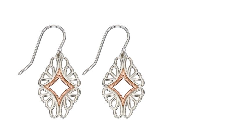 Rose Plate And Silver Abstract Butterfly Wing Earrings
