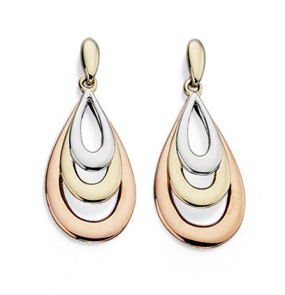 Rose, Yellow And White Gold Teardrop Earrings