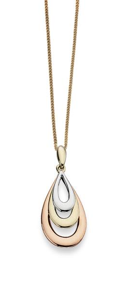 Rose, Yellow And White Gold Teardrop Pendant