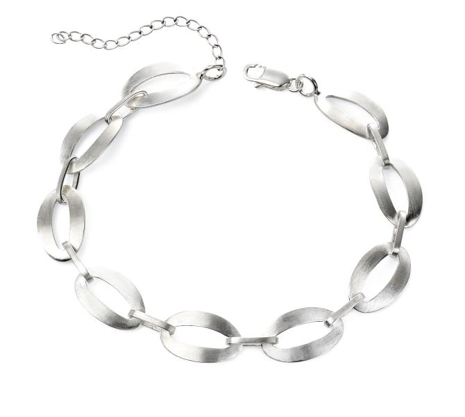 Satin Finish Oval Link Bracelet